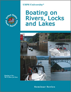 Boating on Rivers, Locks and Lakes course cover book with multiple boat types going through locks