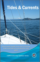 Tides and Currents course cover book with bow of sailboat looking out over water